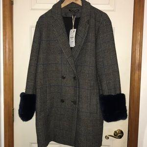 Checkered Fur Sleeve Zara Coat